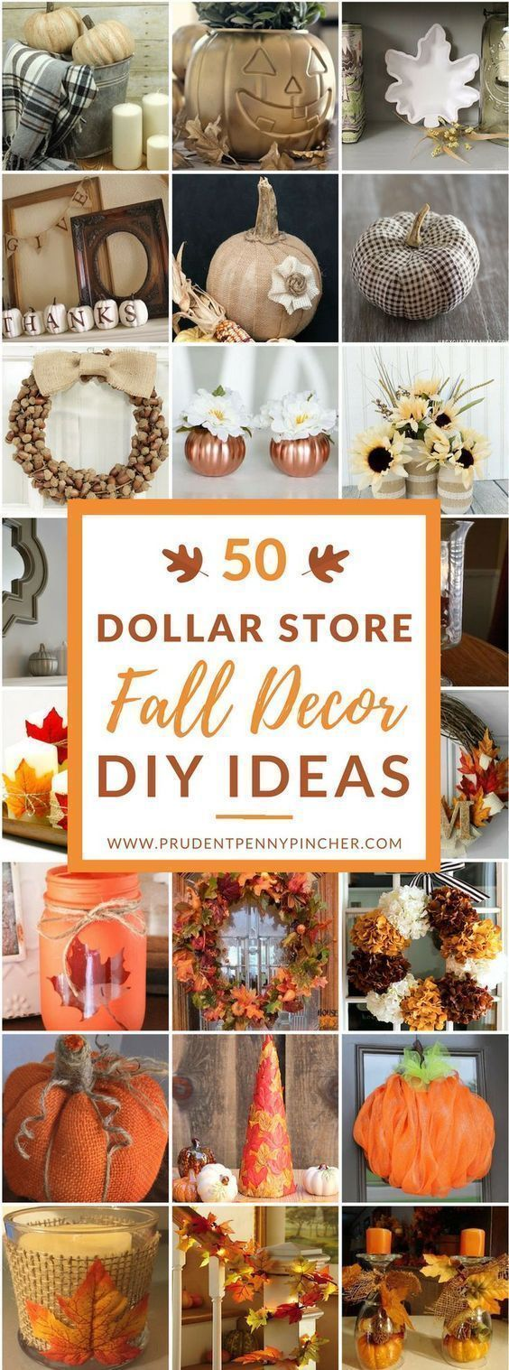 50 Dollar Store Fall Decor DIY Ideas – #Decor #DIY…