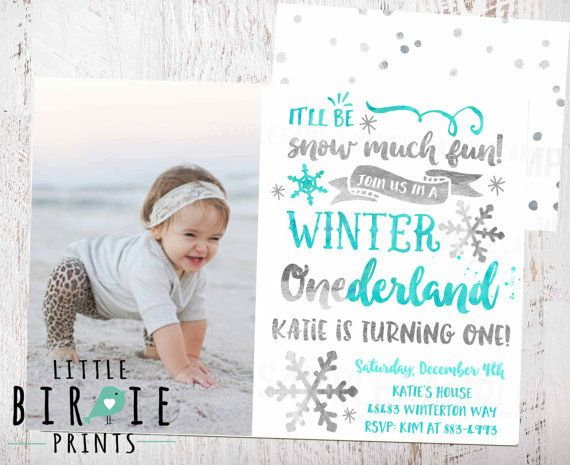 Winter Onederland Invitation in Silver foil and Aqua Teal watercolor with photo This Winter Onederland invitation with Silver and Blue makes a cute introduction to your winter onederland theme! More items here https://www.etsy.com/shop/littlebirdieprints?ref=hdr_shop_menu&search_query=silver+aqua The best part is its a printable file so no waiting on shipping, and print as many as you like! Sweet headband featured is available in this shop: https://www.etsy.com/listing/198927497/toddler-...