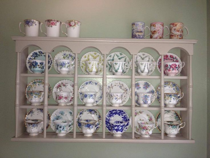Image result for tea cups and saucers wall display shelves