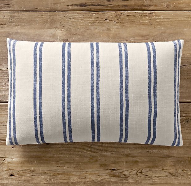French Ticking Stripe Pillow Cover Lumbar Vintage Linens