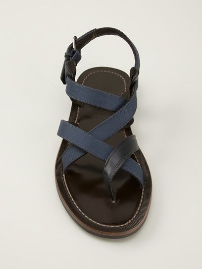 Lanvin blue and brown strappy sandals