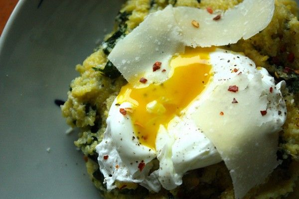 polenta and kale with poached egg. weekend breakfast perfection.