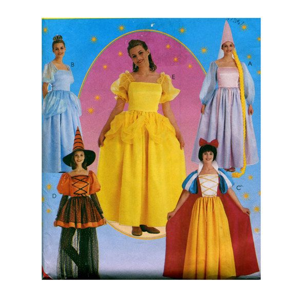 ADULT PRINCESS COSTUME Patterns Rupunzel Cinderella Snow White Belle Witch McCalls 8896 Size 12 14 UNCuT Dress-Up Womens Sewing Patterns by DesignRewindFashions on Etsy