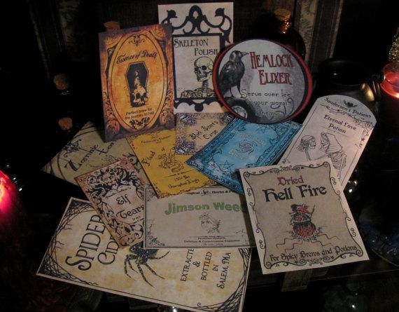 12 Halloween Potion Bottle Labels One of a Kind Designs by pbleu