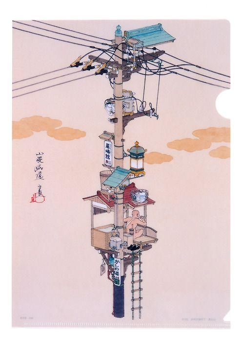 """山口晃 """"I always loved what happens under electrical wires"""" - ILLUSTRATION WORLDS ✤✤ Via @pepevillaverde ✤✤ #Illustration #worlds #character #design ✤✤"""
