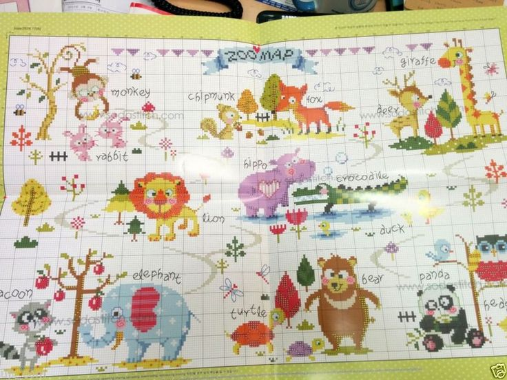 """""""Zoo Map"""" Counted cross stitch pattern leaflet. SODA SO-G73"""
