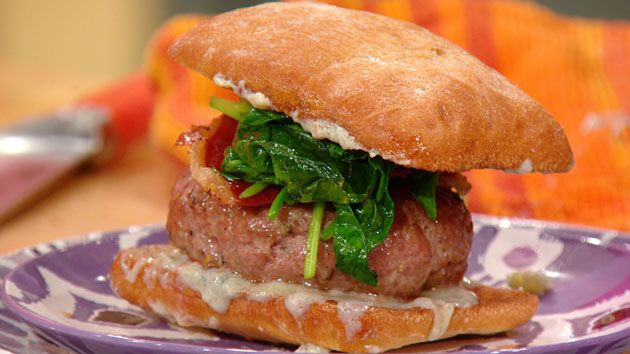 Saltimbocca burgers recipe bacon beer and prosciutto for Blue cheese burger recipe rachael ray