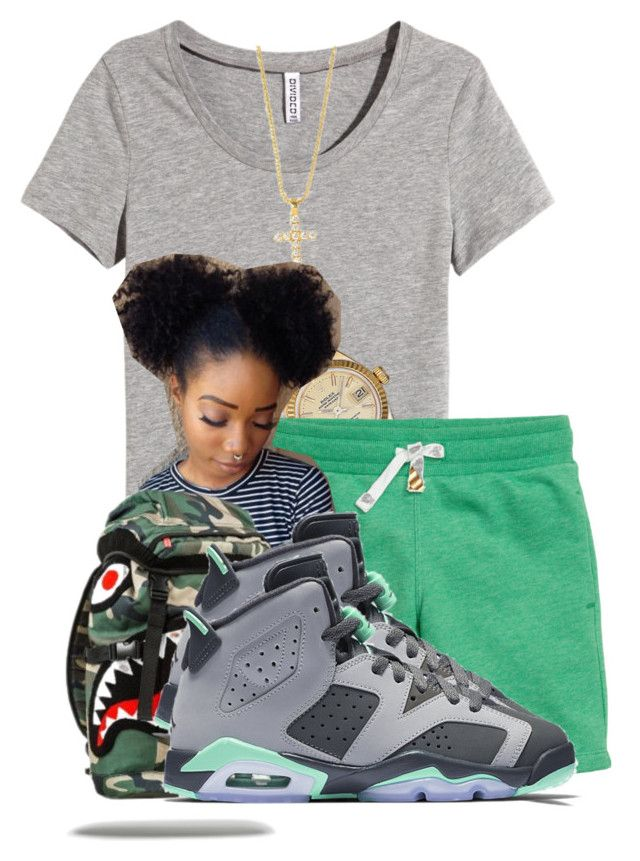 """""""Gotta Get A Ruffneck """" by aniahrhichkhidd ❤ liked on Polyvore featuring H&M, Rolex and NIKE"""