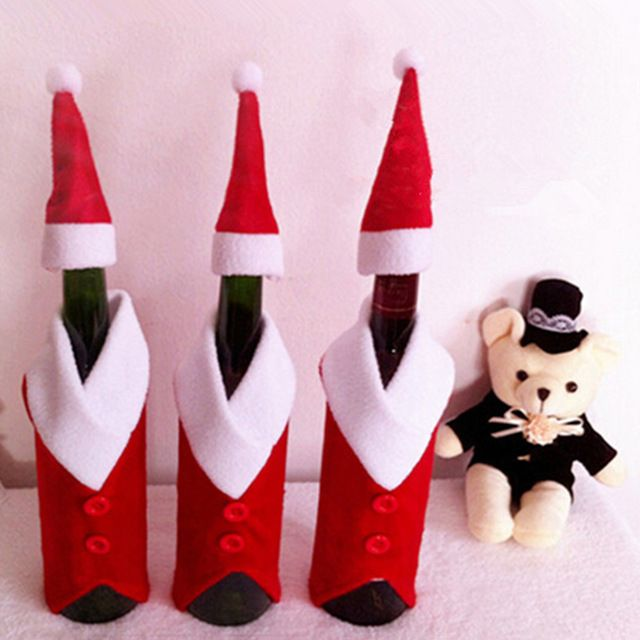Санта-Клаус Одежда Шляпа Красное Вино Мягкий Рождество Крышку Бутылки Новогоднее Украшение Крис Подарок Бесплатная Доставка