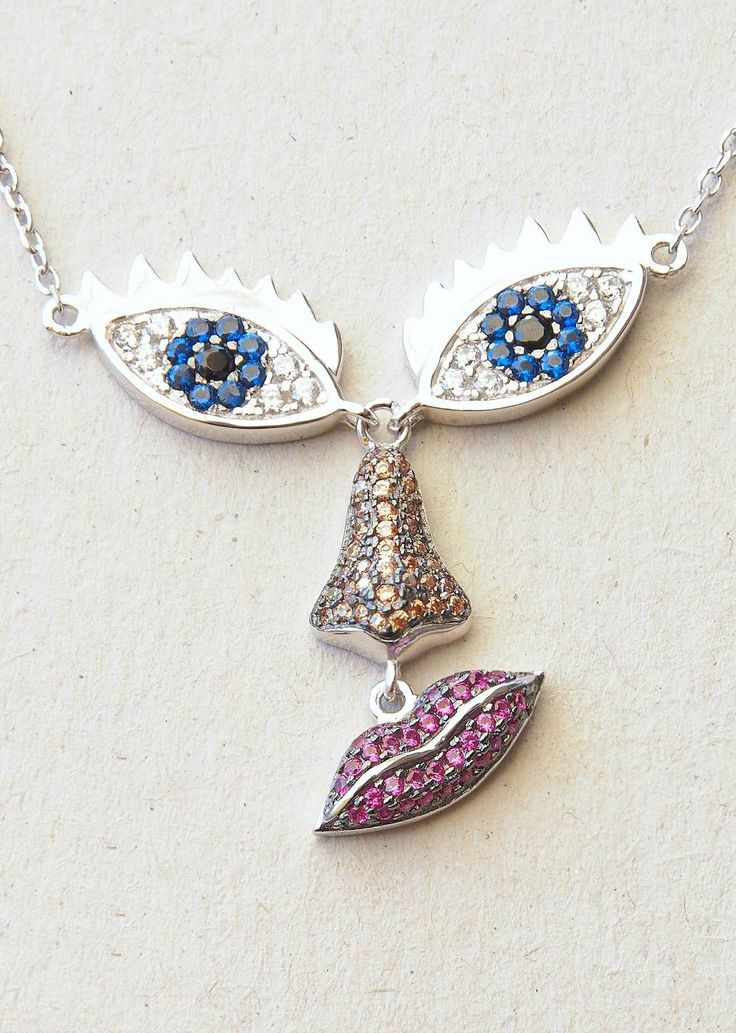 Face Necklace   925 Sterling Silver    Cubic Zirconia Crystals: White, Red, Blue & Yellow  