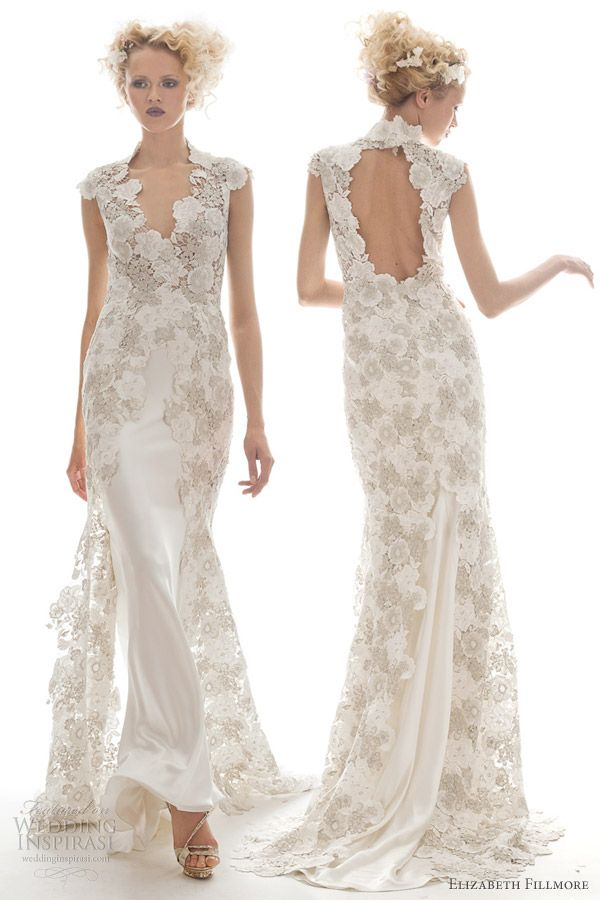 Narelle chiffon slip gown with sheer Chantilly lace overlay and antique floral appliqué detailing.