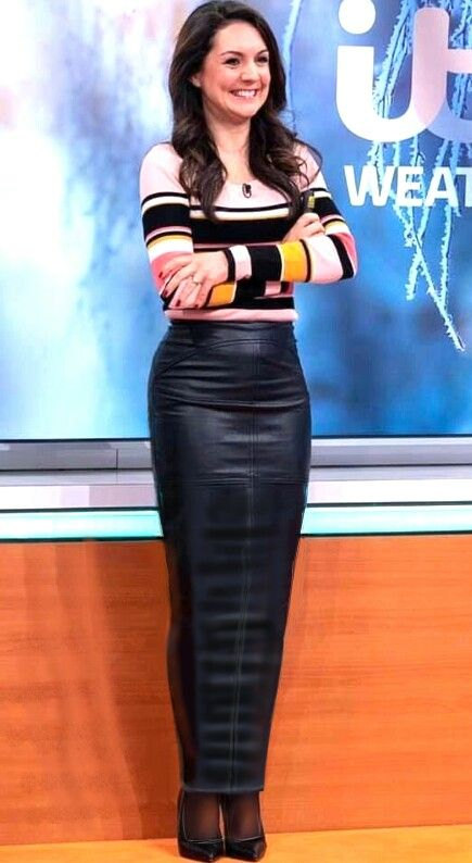 0eeefac0c Laura Tobin the weather girl on GMB wearing a long leather hobble skirt