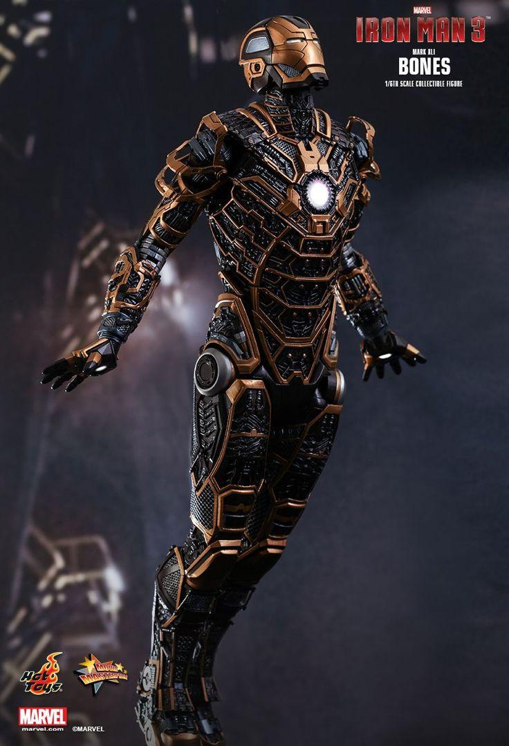Armure ultra-rapide et manœuvrable de couleur noire avec une armature lumineuse qui lui vaut le nom de squelette