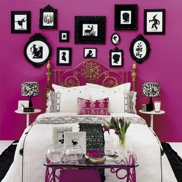 Stunning magenta wall, I have a major thing for walls with lots of different shaped but matching in colour frames like this.