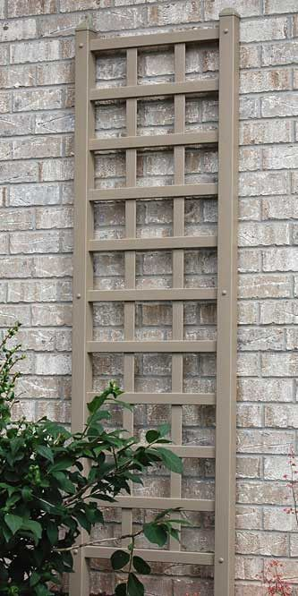 Dura-Trel Add a divine look to your garden or yard with the Dura-Trel Providence Trellis. A precise vinyl grid forms the center of this trellis, flanked by square rails. Slightly pointed endcaps on ea