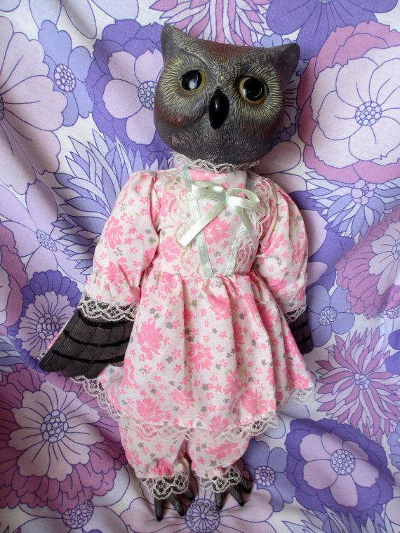 Vintage 70s 80s Ornamental Ceramic Owl Doll Mrs Owl in by Sodaskye