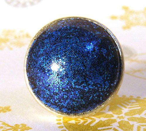 Bague ronde argent en argile polymère bleue : Bague par commeilvousplaira