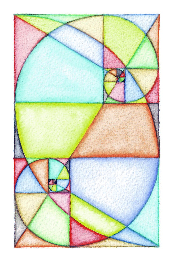 Waldorf ~ 6th grade ~ Geometric Drawing ~ Dual Fibonacci Spirals ~ main lesson book