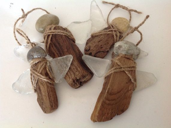 RESERVED Driftwood ornaments Beach stone ornaments Angel ornaments Angels…