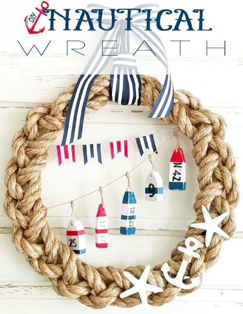 Nautical rope wreath ideas featured on Completely Coastal: http://www.completely-coastal.com/2016/06/nautical-rope-wreaths.html All kinds of creative rope wreaths. From rope wrapped straw wreaths to braided rope wreath with nautical  decor pieces and wood cutouts.