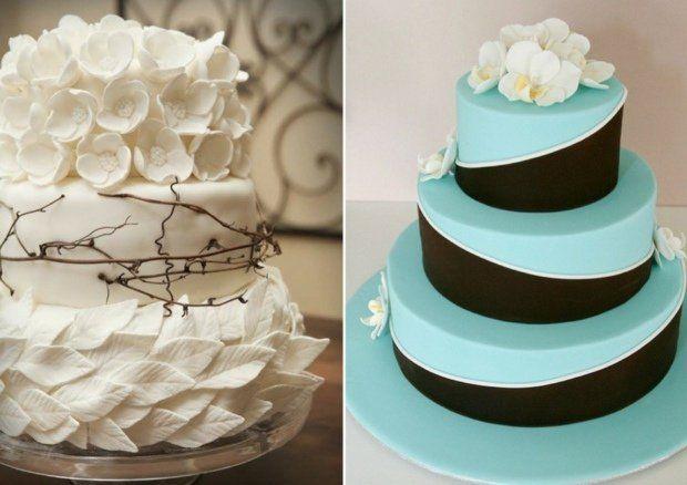 idées de gâteau de mariage bleu et blanc décoré de fleurs et feuilles