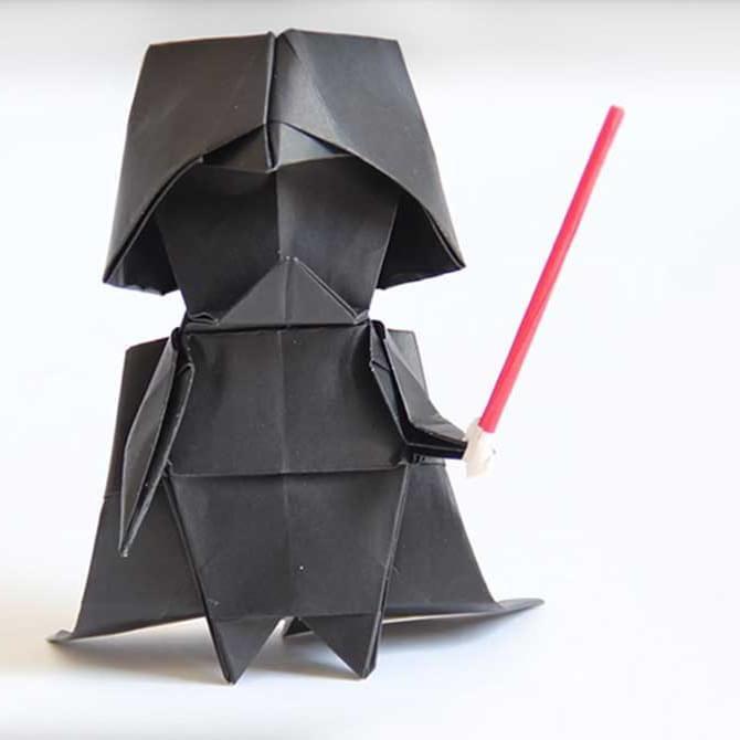 Aprende a hacer un Darth Vader de origami paso a paso