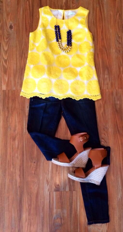 Yellow top // navy slacks // brown wedges. Perfect spring outfit at Peacock's…