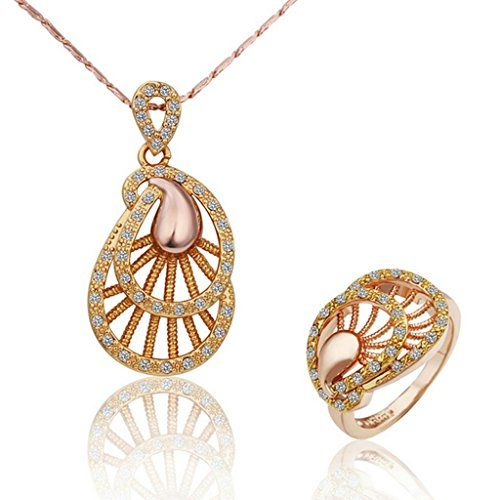 Virgin Shine Gold Plated Rhinestones Leaf Ring Necklace Jewelry Sets VIRGIN SHINE http://www.amazon.co.uk/dp/B00LDU3O36/ref=cm_sw_r_pi_dp_Z4rNub07E2A0X