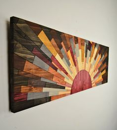Holz-Kunst RAND des TAGES Holzwand Wandkunst von StainsAndGrains