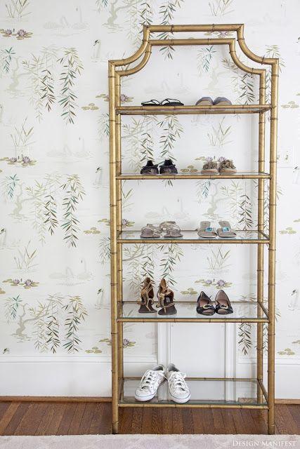 vintage bamboo étagère as a shoe shelf