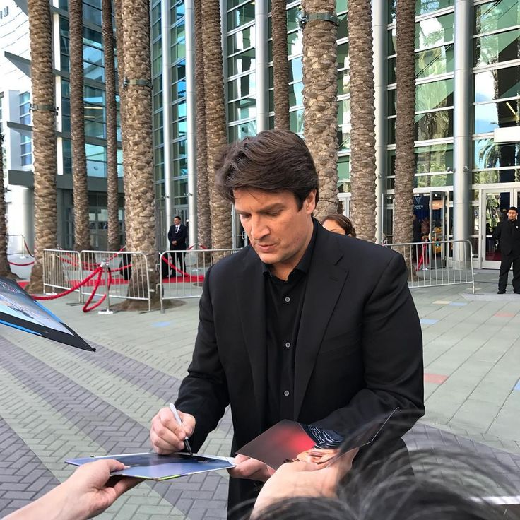 "Juliana Lima Souza (@julianalimas) on Instagram: ""Handsome guy ❤️❤️❤️ cars3event #nathanfillion""   June 10, 2017"