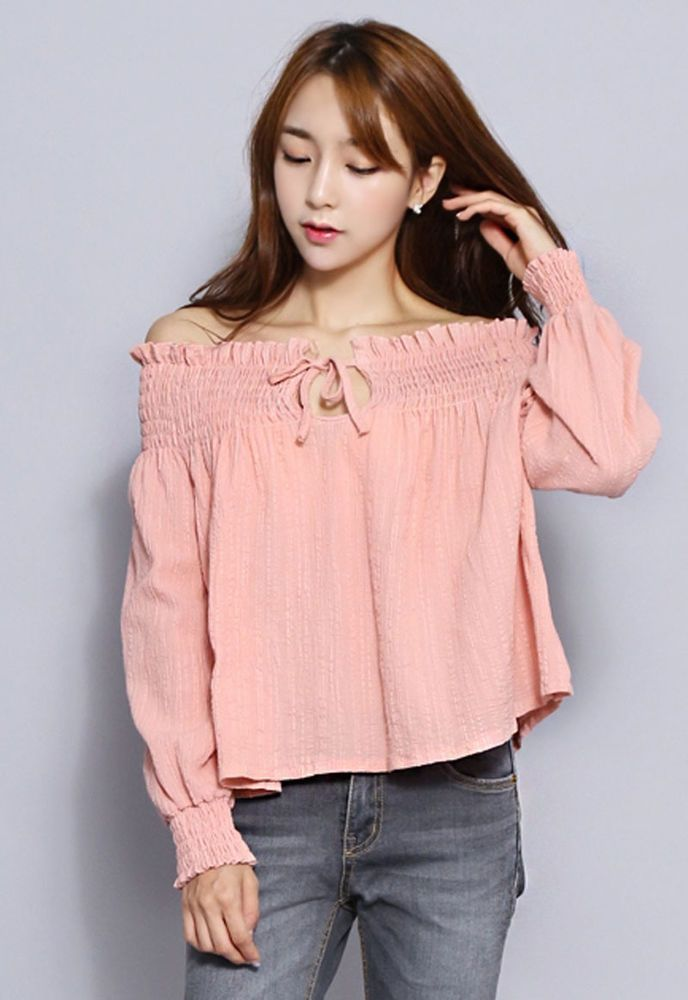 8227 Women's Lovely Wrinkle Band Open Shoulder Frill Top/Blouse, 3 options…