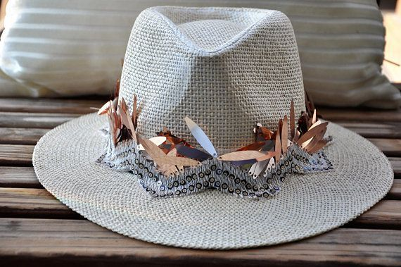 Halloween Cowgirl hat , Cowboy hat costume, Burner hat, Rave panama hat, Parade hat, Carnival straw hat, Gypsy hat, Festival hat, Summer hat – Unique made by hand
