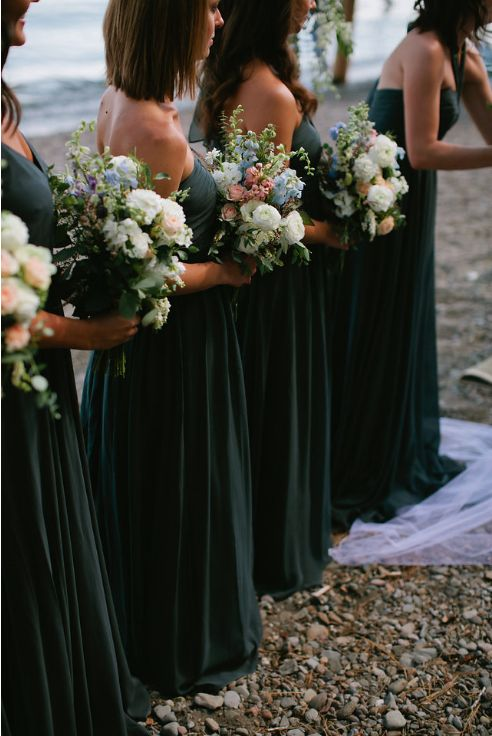 Loved these deep emerald green bridesmaids dresses with all of the blues and greens of Lake Tahoe! See more wedding inspiration at www.onefinedayevents.com #ofdevents
