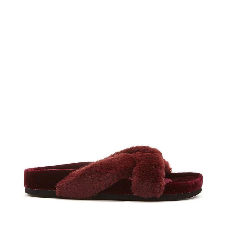 Wendy Williams Fuzzy Velvet Slipper Sandal - Red