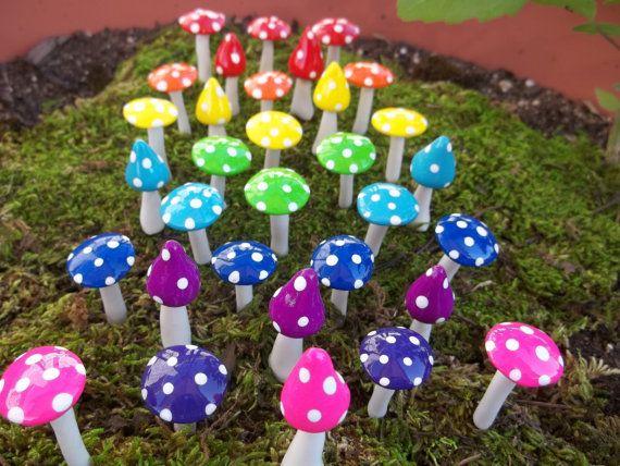 24 miniatuur paddestoelen sprookje tuin miniatuur terrarium pixie gnome miniatuur tuin paddestoel u-pick kleuren