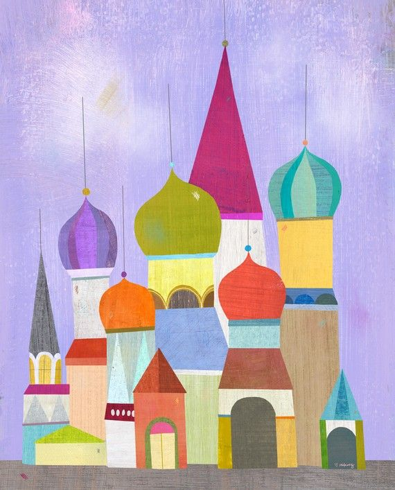 I've always love city scapes and this painting takes that to a whole new level.: Wall Art, Russian Architecture, Funky Russian, Colors Rose, Tape Art, Happy Colors, Illustration, Art Prints, Architecture Prints