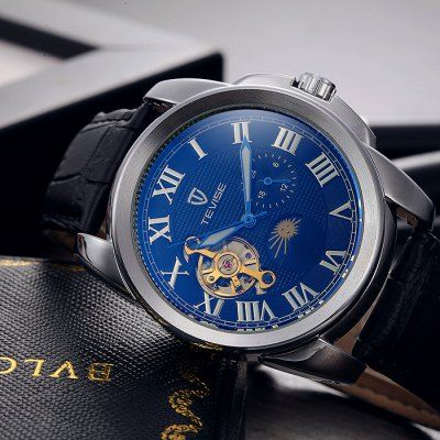 Tevise Men Tourbillon Automatic Mechanical Watch with Leather Strap-20.18 Online Shopping  GearBest.com