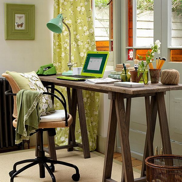 Decorating Some Home Office Spaces With Classic Style Fresh Green Curtain