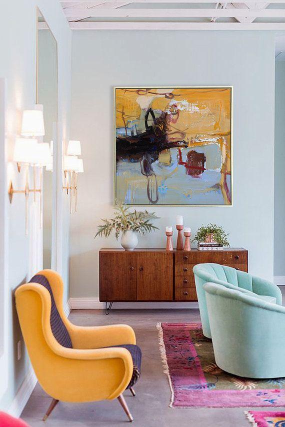 Handgemachte Abstrakte Kunst, Acrylgemälde Große Leinwand Kunst Wohnzimmer  Wand Kunst ...., #abstrakte #acrylgemalde #handgemachte #kunst #leinwand #  ...