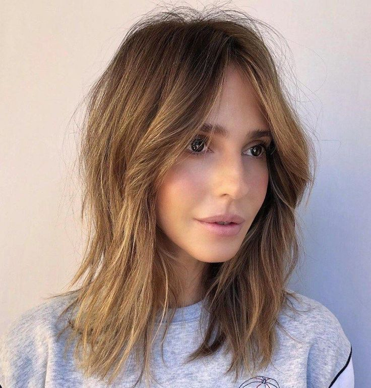 Frizzy Straight Shag with Curtain Bangs #mediumLonghair in 2020 | Oval face hairstyles, Layered ...