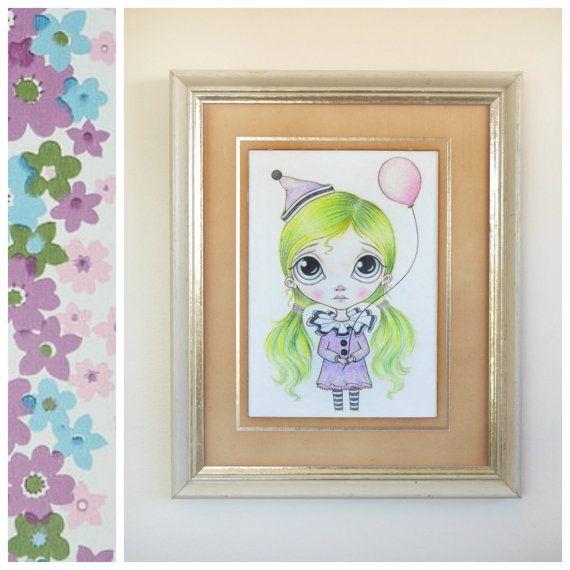 Vintage Sad Clown Art Print 5x7 - Balloon Art, Cute Childrens Art, Big Eyed Art, Green Hair, Little Blythe Girl Drawing - By Nicole Clements