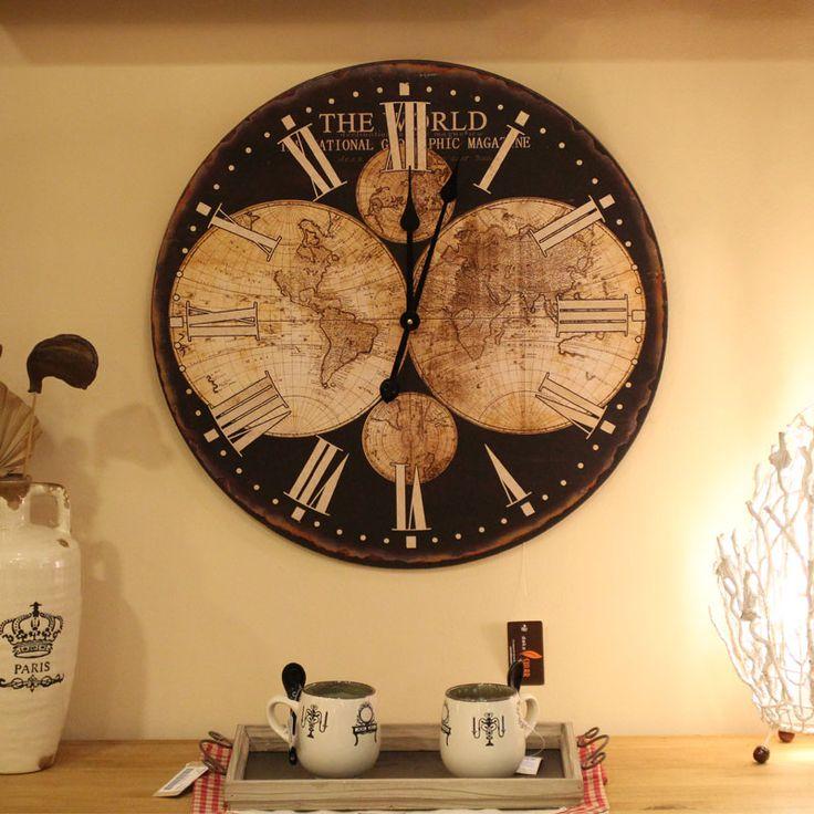 Fantástico Reloj de 58 cm de diámetro Mapamundi