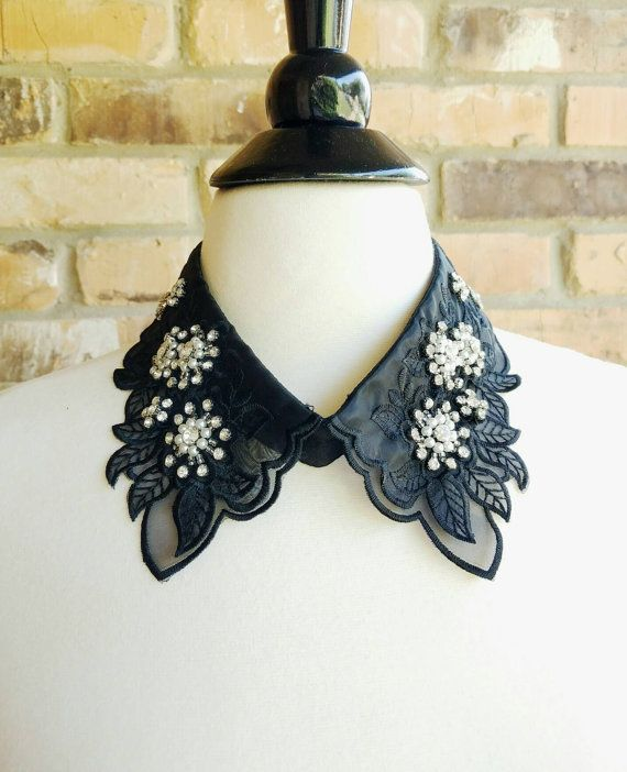 Crystals, Bead and Pearl Embellished Detachable Collar in Black. Flowers Collar, Vintage, Retro,Indi Unique Fashion