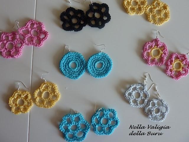 handmade earrings - orecchini fatti a mano realizzati all'uncinetto