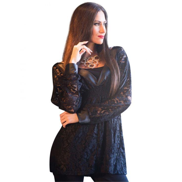 Μπλούζα με δαντέλα & Δερματίνη-Ειδ. Προσφορά (0748)