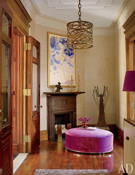 Jamie Drake Decorates an Upper West Side Apartment in Purple and Pink Flambe: Pink Ottomans, Color Palettes, Lights Fixtures, Contemporary Entrance, Drake Design, Entrance Hall, South Shore Decor, Jamie Drake, Decor Blog