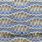 2 color wavy lace  узор спицами ленивый жаккард