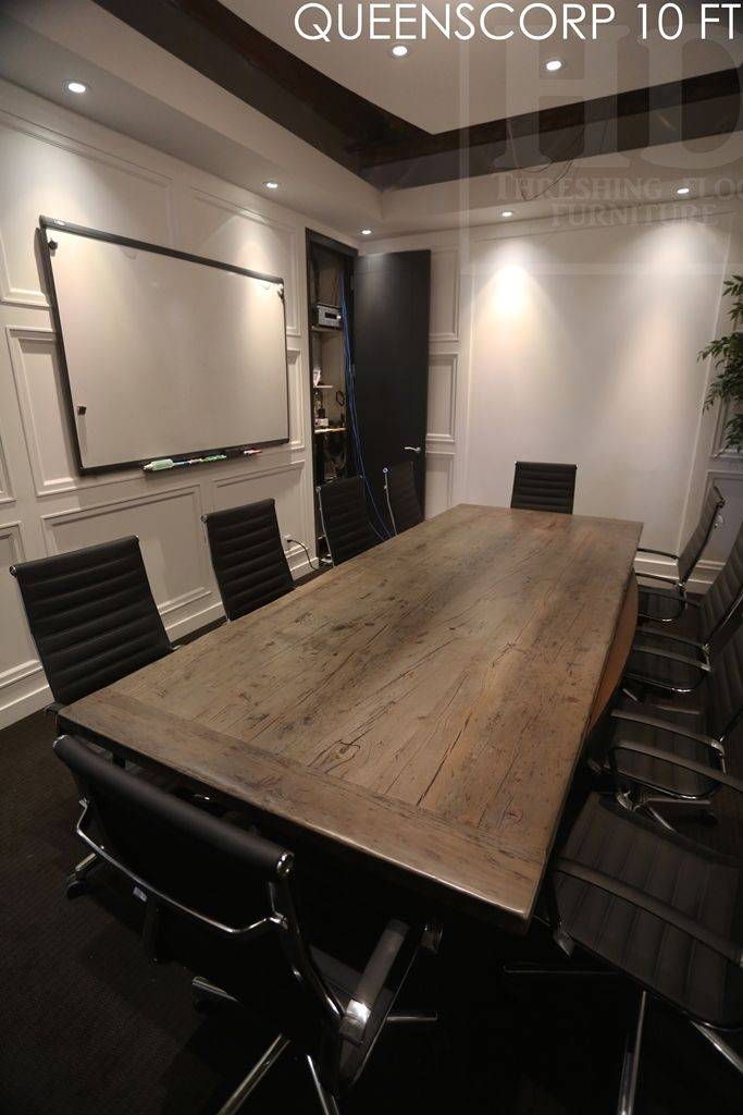 Reclaimed Wood Boardroom Table - Ontario Barn Wood Construction  Modern  Premium epoxy/matte polyurethane
