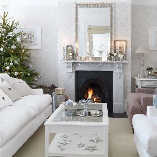 Simple silver Christmas living room | Christmas living room decorating ideas | PHOTO GALLERY | Ideal Home | Housetohome